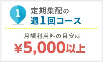 定期集配週1コースの月額利用料の目安は¥5.000以上