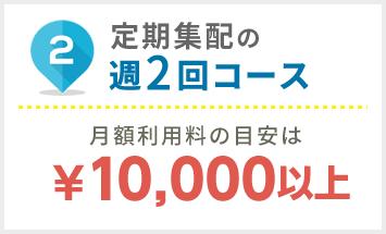 定期集配週2コースの月額利用料の目安は¥10.000以上